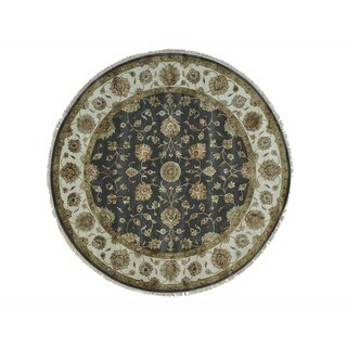 Wool and Silk Round Grey Rajasthan Hand-knotted Oriental Rug (8' x 8')