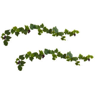 6-foot Grape Leaf Deluxe Garland w/Grapes (Set of 2)