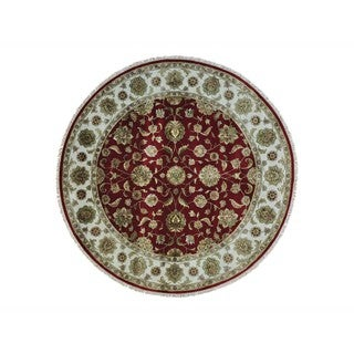 Round Wool and Silk Red Rajasthan Hand-knotted Oriental Rug (8' x 8')
