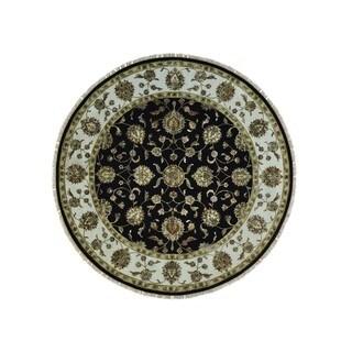 Round Black Rajasthan Handmade Wool and Silk Oriental Rug (8'2 x 8'2)