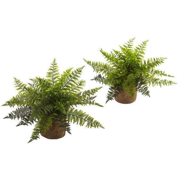 15-inch Ruffle Fern Bush w/Burlap Base (Set of 2)