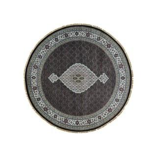 Round Handmade Wool and Silk Black Tabriz Mahi Oriental Rug (8' x 8')