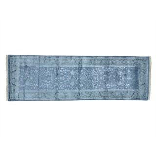 Runner Wool and Silk Oushak Handmade Oriental Rug (2'7 x 8')