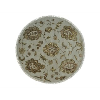 Round Rajasthan Wool and Silk Oriental Rug Hand-knotted (6' x 6'2)