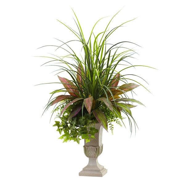 3-foot Mixed Grass, Dracena, Sage Ivy & Fern w/Planter