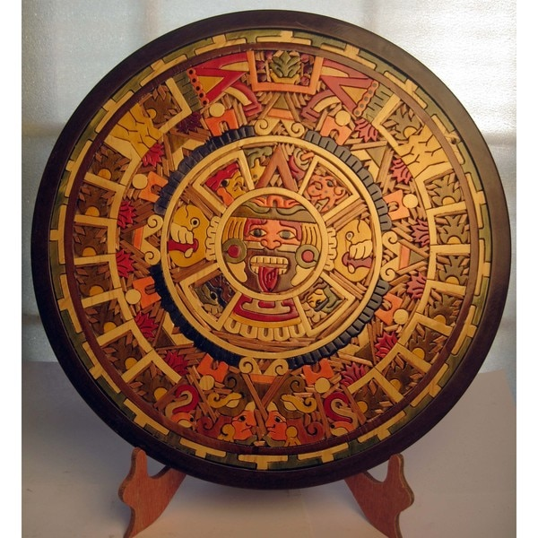 Shop Large Handcrafted Wood Inlay Aztec Calendar Mexico