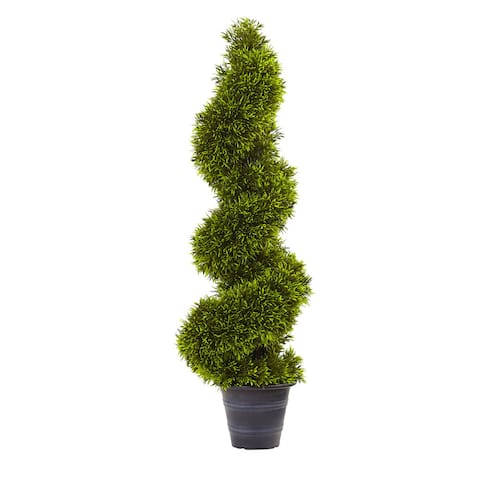 3-foot Grass Spiral Topiary w/Deco Planter - Green