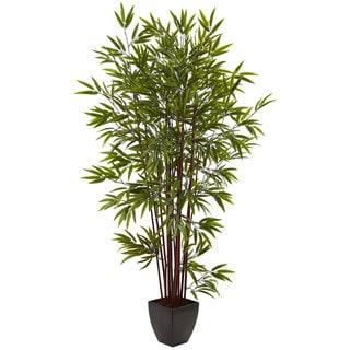 6-foot Bamboo Silk Tree w/Planter - Green