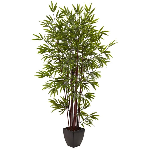 6-foot Bamboo Silk Tree w/Planter - Green