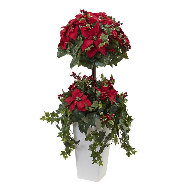 Home Depot Real Christmas Tree Prices: Shop 4-foot Poinsettia Berry Topiary W/Decorative Planter