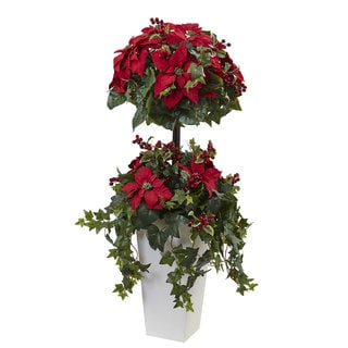 4-foot Poinsettia Berry Topiary w/Decorative Planter