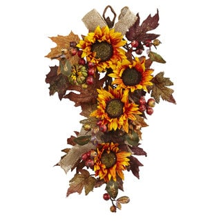 24-inch Sunflower & Berry Teardrop