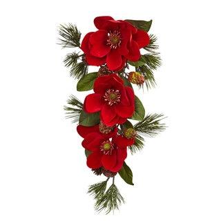 26-inch Red Magnolia & Pine Tear Drop
