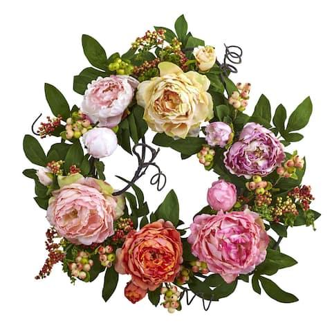 "20-inch Mixed Peony & Berry Wreath - 20"""