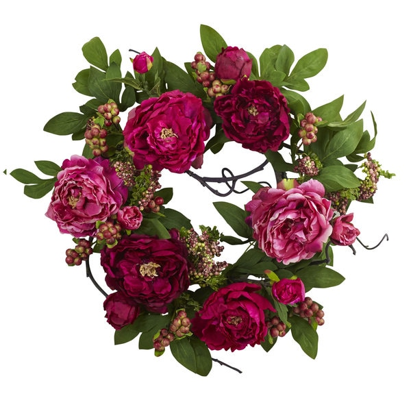 20-inch Peony & Berry Wreath - Pink