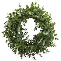 18-inch Eucalyptus Double Ring Wreath w/Twig Base