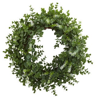 18-inch Eucalyptus Double Ring Wreath w/Twig Base
