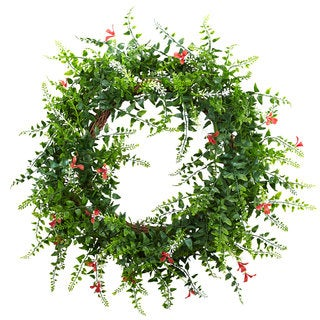 18-inch Floral & Fern Double Ring Wreath w/Twig Base