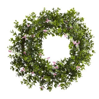 18-inch Mini Ivy & Floral Double Ring Wreath w/Twig Base