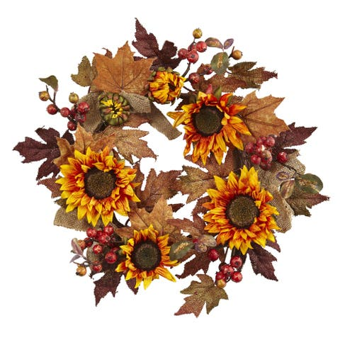 24-inch Sunflower & Berry Wreath