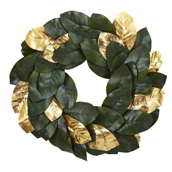 22-inch Golden Leaf Magnolia Wreath