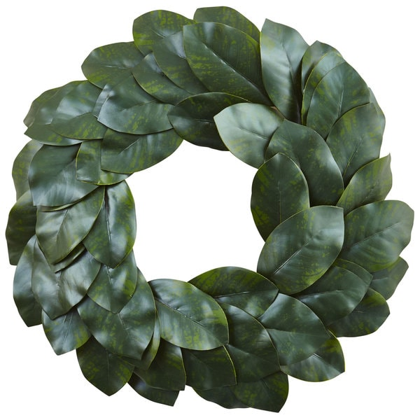 20 Magnolia Christmas Decor Ideas To Try: Shop 24-inch Magnolia Leaf Wreath