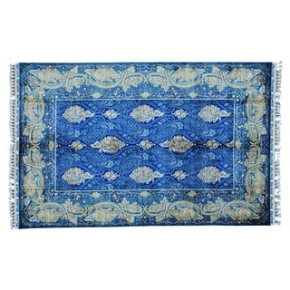 Royal Blue Silken Esfahan 400 KPSI Handmade Oriental Rug (6'6 x 10'2)