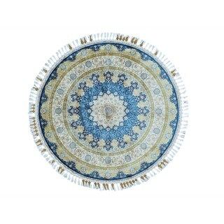 Round Hand-knotted Silken Qum 400 KPSI Oriental Rug (5'7 x 5'7)