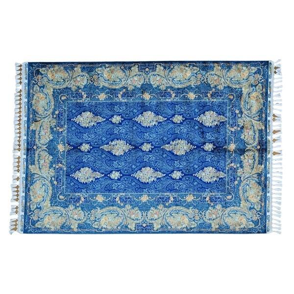 Royal Blue Silken Kashan 400 KPSI Hand-knotted Oriental Rug - 5'7 x 8'