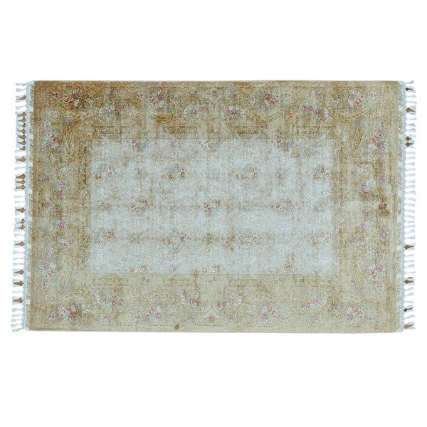 Handmade Soft Colors Silken Esfahan 400 KPSI Oriental Rug (5'6 x 8'2)