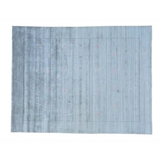 Hand-loomed Silver Wool and Rayon from Bamboo Silk Modern Gabbeh Rug (9' x 12')