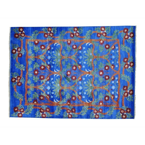 Rayon from Bamboo Silk Arts and Crafts Denim Blue Hand-knotted Rug - 2'4 x 20'1