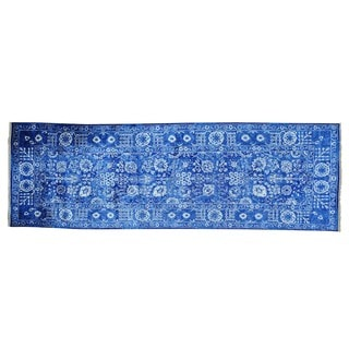 Wide Runner Wool and Viscose Rayon from Bamboo Tabriz Handmade Rug (4' x 12')