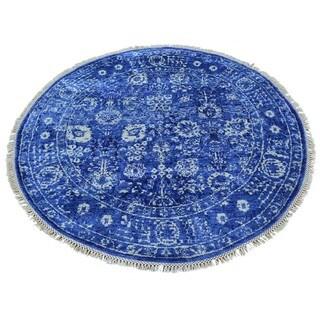 Round Wool and Rayon from Bamboo Silk Tabriz Handmade Oriental Rug (3'10 x 4')