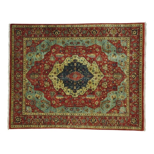 Hand-knotted Antiqued Heriz Recreation Oriental Rug (8' x 10') - 8' x 10'