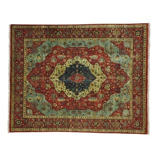 Hand-knotted Antiqued Heriz Recreation Oriental Rug (8' x 10')