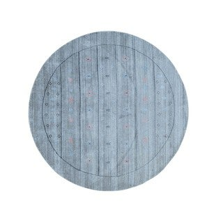 Round Hand-loomed Modern Gabbeh Wool and Rayon from Bamboo Silk Rug (7' x 7')