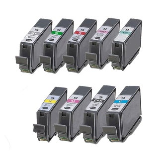 9PK PGI-9 PBK C M Y PC PM R G GY Compatible Inkjet Cartridge For Canon PIXMA Pro9500 (Pack of 9)