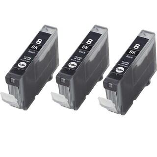 3PK CLI-8Bk Black Compatible Inkjet Cartridge For Canon PIXMA IP4200 5200 6600D 6700D MP500 MP800 (Pack of 3)