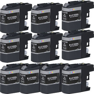 10 PK Compatible LC103 BK XL Inkjet Cartridge For Brother MFCAN-J4410DW MFCAN-J4510DW (Pack of 10)