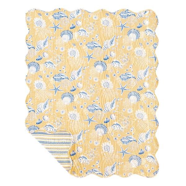 Taupe Seashells Reversible Cotton Throw