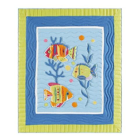 Fish Outta Water Hand Pieced Cotton Throw Blanket