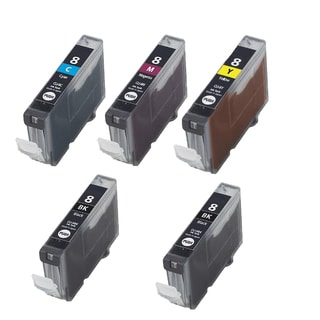 5PK CLI-8 2 BK + C M Y Compatible Inkjet Cartridge For Canon PIXMA IP4200 5200 6600D 6700D MP500 MP800 (Pack of 5)