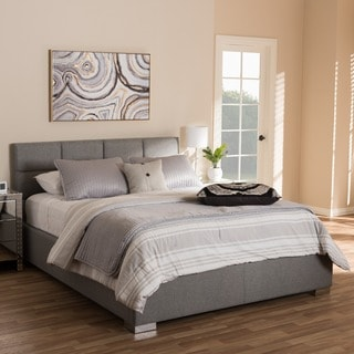 baxton studio sophie modern and grey fabric upholstered platform bed option queen