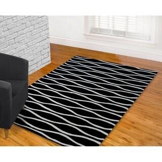 LYKE Home Hand-carved Black Wave Area Rug (7'10 x 10'3)