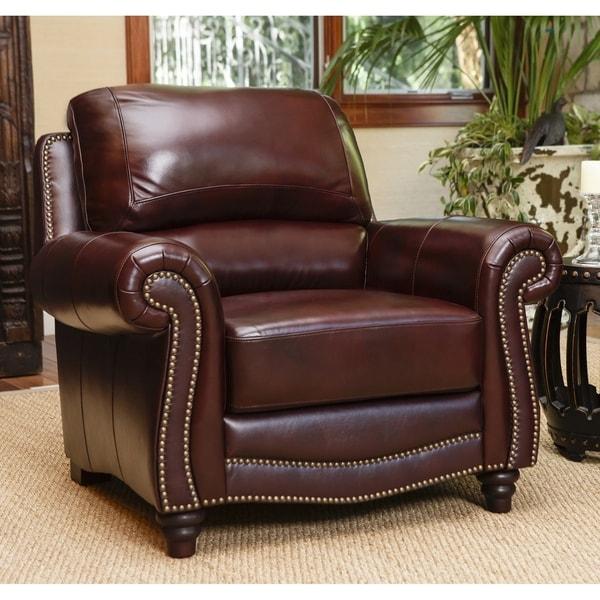 Shop Abbyson Barkley Top-Grain Burgundy Leather Armchair ...