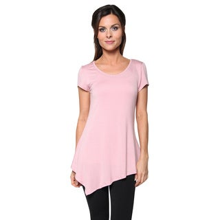 Free to Live Women's Short Sleeve Asymmetrical Handkerchief Hem Fitted Tunic