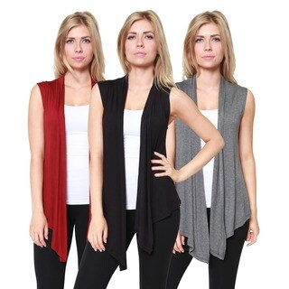 Free to Live Women's Open-Front Sleeveless Cardigans (Pack of 3)