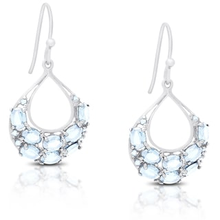 Link to Dolce Giavonna Gold Over Silver or Sterling Silver Gemstone Dangling Earrings Similar Items in Earrings