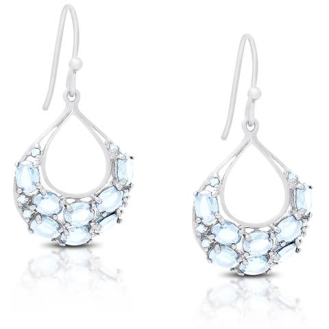Dolce Giavonna Gold Over Silver or Sterling Silver Gemstone Dangling Earrings
